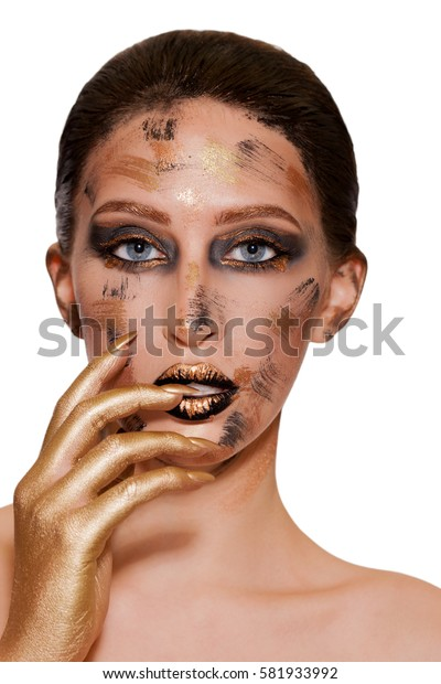portrait of a girl with golden makeup, fantasy makeup. black lips with gold.