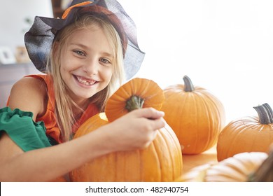 Portrait of girl in Halloween time