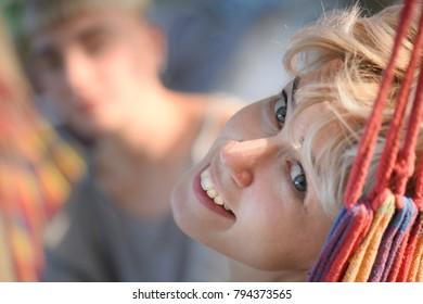 portrait of a girl in a hammock.