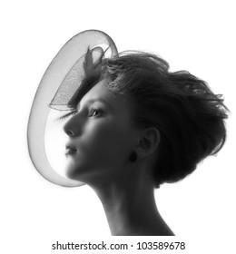 portrait of a girl in a hat monochrome