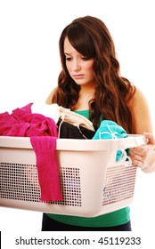 Portrait of girl holding dirty washing isolated on white