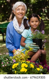 Portrait of girl holding potted pant while sitting with grandmother at backyard