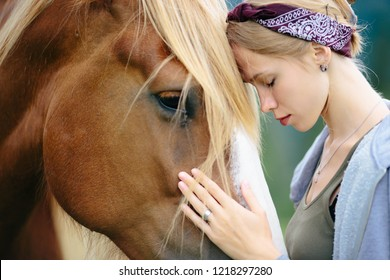 Portrait of girl and horse, Horse Jaw, Beautiful girl and Horse. young girl and Head of horse