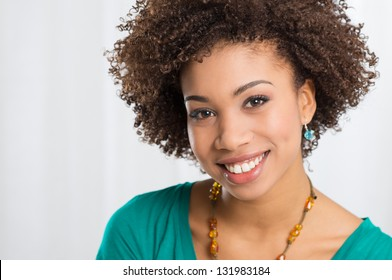 Portrait Of Girl Isolated Smiling