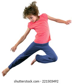 Portrait of girl jumping and dancing. Isolated over white background