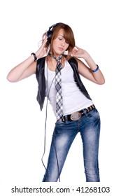 portrait of the girl listenning music in headphones