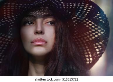 Portrait of a girl model in a studio. Beauty, studio, creative, fashion, style.