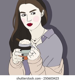 portrait of a girl with a mug of cocoa in hand