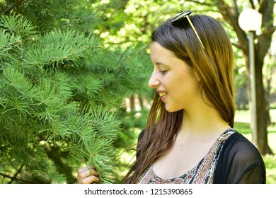portrait of a girl on a background of nature