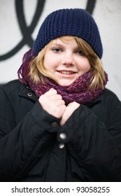 Portrait of girl outside in the winter