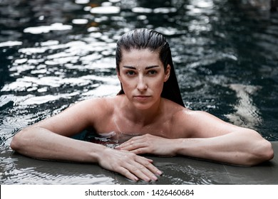 Portrait of a girl in the pool