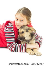 Portrait of a Girl and puppy mutts on a white background isolated