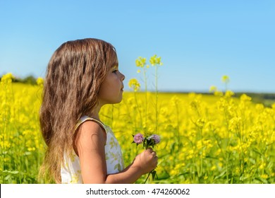 Portrait of a girl in rapeseed field (Green Gables Shore, Prince Edward Island , Canada)