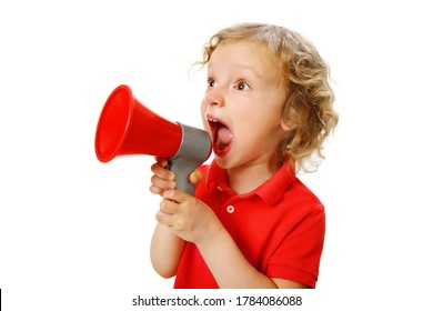 Portrait of a girl in a red t-shirt, looking away shouting a call or exclamation into a megaphone, isolated on a white, copy space