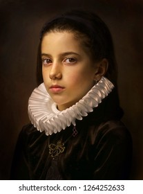 Portrait of girl with ruff collar.