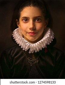 Portrait of girl with ruff collar. (Rembrandt lightning)
