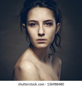 portrait of a girl with sad eyes