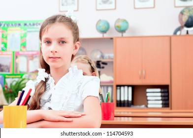 portrait of the girl in the school class