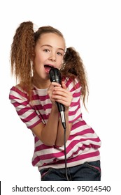 Portrait of girl singing with microphone isolated on white background