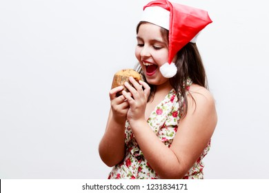 portrait of girl with small panetone, white background