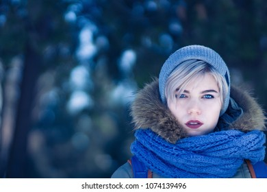 Portrait of a girl walking in cold weather