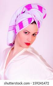 portrait of girl wearing towel on her head