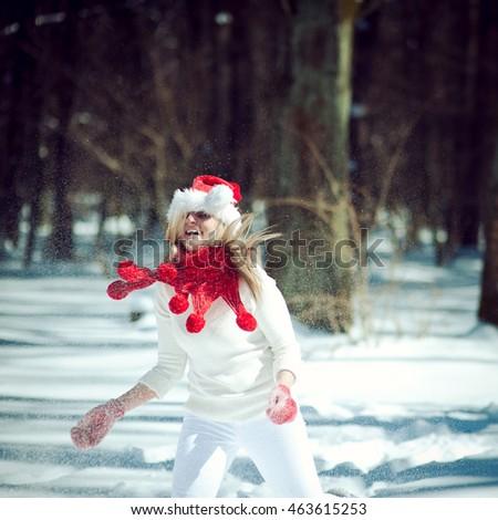 fed1f3891dcf2 Portrait Girl White Dress Hat Santa Stock Photo (Edit Now) 463615253 ...