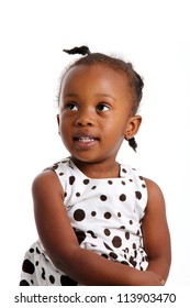 Portrait of a girl who is against a white background