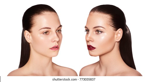 portrait of a girl with and without makeup