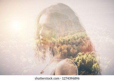 Portrait of a girl and woods with double exposure effect. Autumn, fall, nostalgic image.