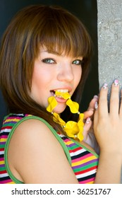 Portrait Girl with yellow beads