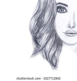 Portrait of a girl's face, pencil sketch, Fashion portrait of a young woman face, fashion illustration