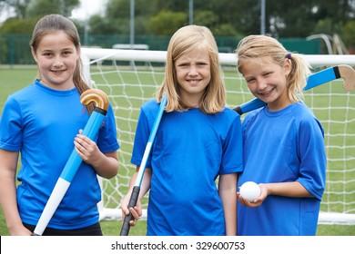 Portrait Of Girl's Hockey Team