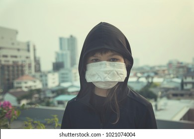 The portrait of girls with mask, city background