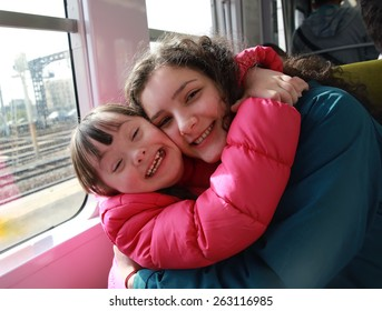 Portrait of girls in the train