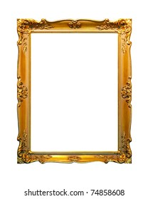 Portrait golden frame isolated included clipping path