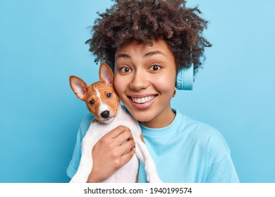Portrait of good looking cheerful Afro American woman holds small puppy near face smiles pleasantly enjoys spare time with favorite dog wears stereo headphones isolated over blue background.