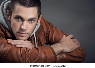 Portrait of a good looking man in classic leather jacket