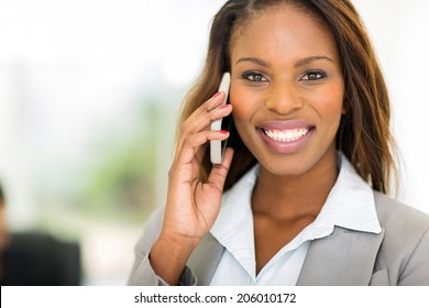 portrait of gorgeous black businesswoman talking on mobile phone