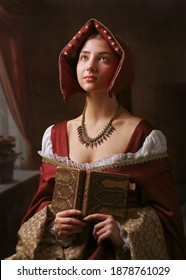 Portrait of a gorgeous girl in medieval time dress and headdress. - Shutterstock ID 1878761029