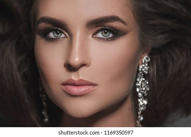Portrait of gorgeous woman with a beautiful make-up