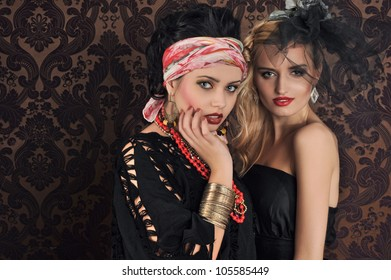 Portrait of gorgeous woman and beauty gypsy