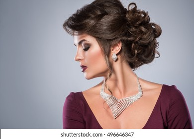 Portrait of gorgeous woman which  wearing beautiful jewellery