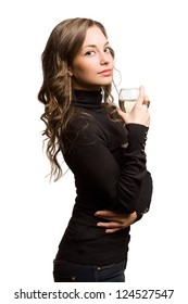 Portrait of a gorgeous young brunette enjoying wine.