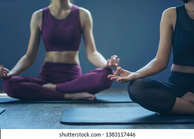 Portrait of gorgeous young woman practicing yoga indoor. Concept of healthy life and natural balance between body and mental developmen