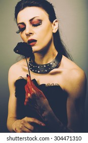 Portrait of gothic style sexy woman
