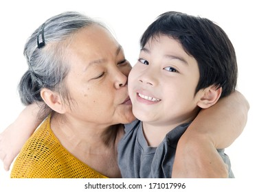 Portrait of Grandmother with her grandchild isolated on white background .
