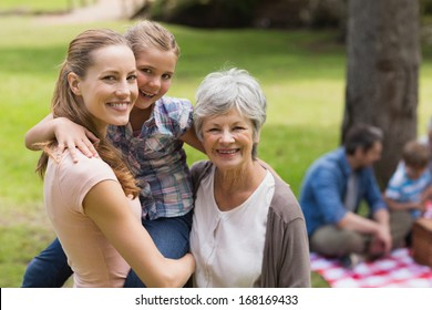 Portrait of grandmother, mother and daughter with family in background at the park