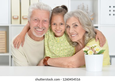 Portrait of grandparents with granddaughter posing together at home