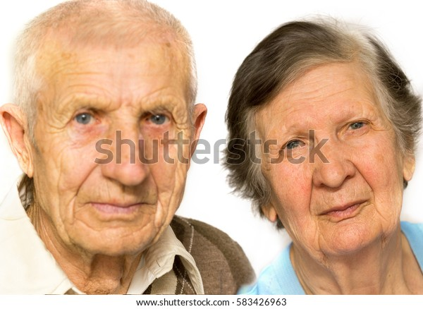 portrait of grandparents on a white background